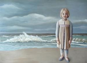 'Meisje op strand' - Olieverf en eitempera op paneel (50x70 cm.).