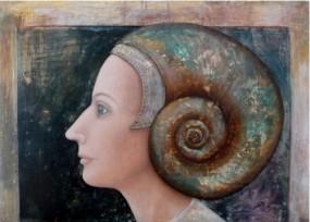 'Schelpenvrouw', eitempera op paneel, 50x70 cm