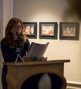 Auteur Justine le Clercq doet het hilarische en memorabele openingswoord