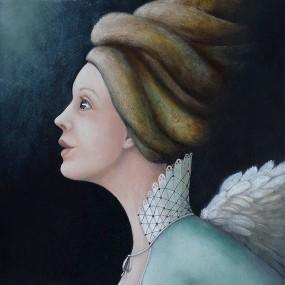 'Engel 2015 1', olieverf en eitempera op paneel, 20x20 cm