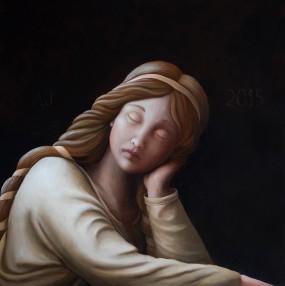 'Engelmeisje', olieverf en eitempera op paneel, 35x35 cm