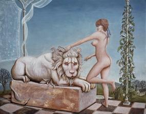 'Leeuwenjacht', eitempera op paneel, 16x21 cm