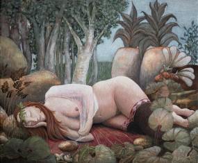 'Verre dromen', eitempera op paneel, 16x20 cm