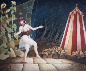 'Tollen voor de tent', eitempera op paneel, 16x20 cm