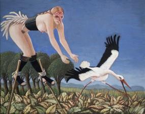 'Jagen of vangen?', eitempera op paneel, 16x21 cm