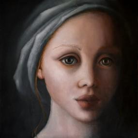 'Eyes wide', oil on panel, 20x20 cm