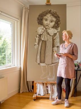 'Felicia II, in the making', oil on linen, 200x100 cm