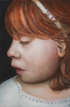 'Haarbandmeisje', olieverf en eitempera op paneel, 15x10 cm