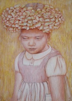 'Hortensiameisje', eitempera op paneel, 13,5x9,5 cm.