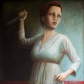 'It's just a knife!' oil on linen, 100x100 cm