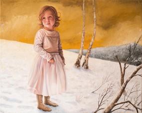 'Sarah in de sneeuw', olieverf en eitempera op linnen, 80x100 cm
