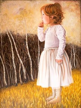 'Sarah tegen bosrand', olieverf en eitempera op linnen, 80x60 cm
