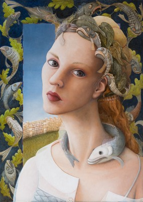 'Vissenkoningin', olieverf op paneel, 70x50 cm