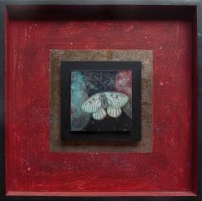 'Vlinder', eitempera op paneel, ingelijst 40x40 cm