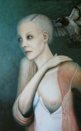 'Vogelvrouw', eitempera op paneel, 60x36,5 cm
