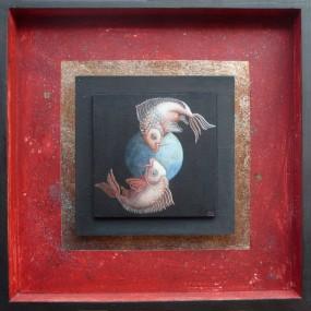 'Wereldvissen', eitempera op paneel, ingelijst 40x40 cm