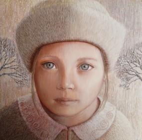 'Winterkind', eitempera op paneel, 20x20 cm