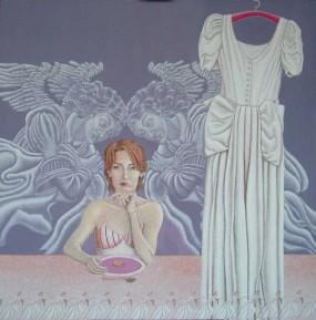 'De bruidsjurk', eitempera op linnen, 200x200 cm