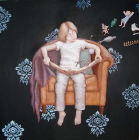 'Het kind en het boek', eitempera op paneel, 100x100 cm