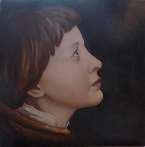 'Jeanne d'Arc' (naar Holbein), olieverf op paneel, 30x30 cm