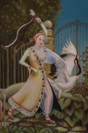Dans van de maagd 1/Virgin dance 1, oil/wood, 30x20 cm