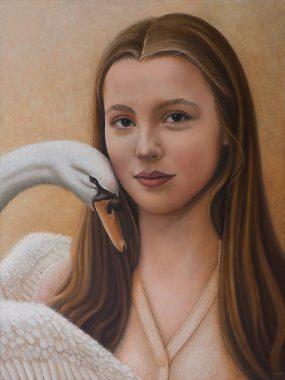 Svea en de zwaan, oil on wood, 40x30 cm